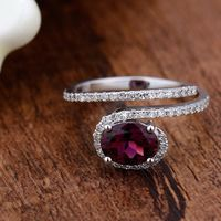 Unique White Gold 14K Natural Diamond Ring Pear Pink Tourmaline Ring for Her