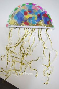 jellyfish crafts, jellyfish and contact paper.