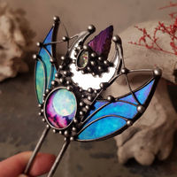 Stain Glass Hair Fork with Dichroic Glass and Natural Stone, Hair Pin $88.00