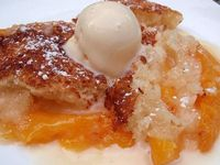 Southern Peach Cobbler. Super easy to make (if you only have all purpose flour, google how to turn it into self rising. I did and it worked just fine). Very quick to put together, I just used canned peaches. Nice sweet treat to make on a busy nigh...