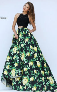 Yellow Print 50119 A Line Two Piece Halter Ball Gown