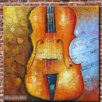 Hand Painted On Canvas Violoncello Abstract Oil Painting