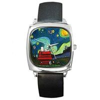 """Snoopy on """" Starry Starry Night """" by Van Gogh Silver Square Watch with Leather Band $32.00"""