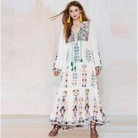 Ladies Cotton O-Neck Long Sleeve Floral Embroidered Maxi Dress $63.99