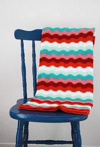 Love the colors! Happy in Red's ripple stitch crochet blanket