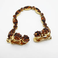 Brown Rhinestone Sweater Guard or Sweater Clips, Mid Century 1950s 1960s Vintage Fashion Accessory Jewelry $26.00