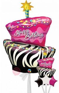 Inflated Birthday Funky Zebra Stripe Cake Balloons