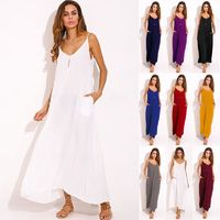3 Colors ZANZEA Bohemian Summer Vestidos Women Dress Boho Strapless V-neck Sleeveless Baggy Long Maxi Dresses Beach Sundress $34.00