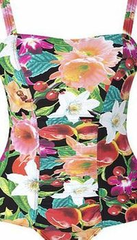 Bhs Womens Black Floral Print Tummy Control This black floral print tummy control swimsuit has a gathered front panel with tummy control mesh to provide a flattering fit. Adjustable straps and moderate cut at the leg opening helps to minimise t http://www...