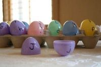 """Preschool+ : matching upper and lowercase letters with plastic eggs! Maybe add a little teeny """"something that starts with the letter """" for each egg? I don't know if there are enough little teeny somethings in existence though...."""