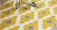 Mustard and grey Dhurrie Rug