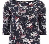 Dorothy Perkins Womens Petite bird printed 3/4 tee- Blue Petite Exclusive navy bird printed 3/4 sleeve tee. Wearing length is approximately 60cm. 100% Cotton. Machine washable. http://www.comparestoreprices.co.uk//dorothy-perkins-womens-petite-bird-pr...