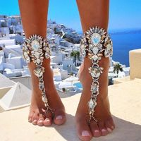 Ankle Bracelet Barefoot Sandals Beach Foot Jewelry Sexy Pie Leg Chain Boho Crystal1pcs R253.35