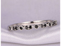 Black Diamond Wedding Band Anniversary ring art deco antique solid 14k White gold Half Eternity Band Personalized for him/her Diamond Ring $285.00