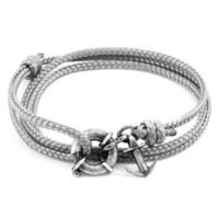 Classic Grey Clyde Anchor Silver and Rope Bracelet