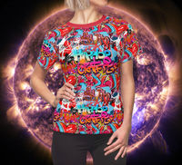 Graffiti Hip Women's Shirt Moisture Wicking Strong Elastic Fabric Vibrant Durable Colors Best Quality Pigment Inks Sizes XS - 2XL $21.99 https://www.etsy.com/shop/LAFabriKDesigns?ref=ss profile