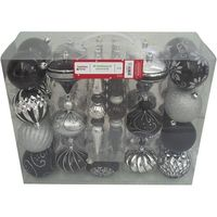 Holiday Time 40-Count Shatterproof Ornament Set, Black/Silver, from Wal-Mart. For broke Goths like myself.