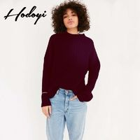 Oversized Vogue Sexy Open Back Hollow Out Scoop Neck One Color Fall 9/10 Sleeves Sweater - Bonny YZOZO Boutique Store