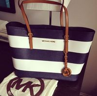 Perfect Michael Kors Jet Set Striped Travel Medium Black White Totes Enjoy Great Discounts For Our Customers! #WhatsInYourKors
