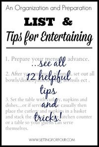 Do you find it frustrating and stressful to prepare for entertaining guests? See these helpful tips on how to get organized and prepared for parties!