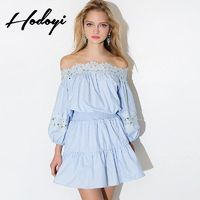 School Style Sweet Split Front Bateau Off-the-Shoulder 9/10 Sleeves Fall Lace Dress - Bonny YZOZO Boutique Store