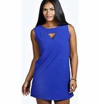 boohoo Cut Front V Back Sleeveless Shift Dress - cobalt Look knock-out on nights out in figure- skimming bodycon fits, flowing maxi lengths and stunning sequin- embellished occasion dresses. This season make for satin sheen slip dresses in mink nudes, and...