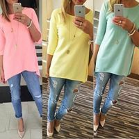 2018 Women Candy Color Loose Office Blouse 3/4 Sleeve Long Shirt Ladies BOHO Mini Shirts Casual O-Neck Tops Drop Shipping $28.00