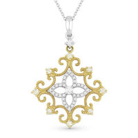 0.32ct Round Cut Diamond Vintage-Style Pendant & Chain in 14k Yellow & White Gold - AM-DN4603