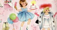 Sweet vintage girl birthday party wrapping paper ~ love this!