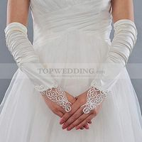 Ivory Ruched Satin Elbow Length Fingerless Bridal Gloves with Applique