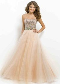 Champagne Gold Sparkly Top Iridescent Beaded Waist Blush Prom Dresses
