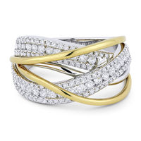 1.11ct Round Cut Diamond Pave Overlap Swirl Right-Hand Statement Ring in 18k White & Yellow Gold
