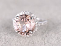 9mm Morganite Engagement ring White/Rose gold Diamond wedding band 14k Round Cut Gemstone Promise Bridal Ring Claw Prongs Pave Set Handmade