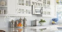 Traditional White Kitchen with Display Cabinets