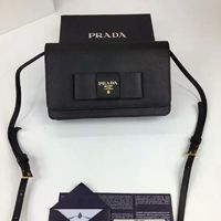 Prada 1M1361 Bow Logo Saffiano Leather Wallet In Black