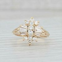 A Vintage 14K Yellow Gold 0.90ctw Diamond Cluster Ring Size 6.5 $698.00