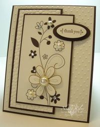 RECIPE Stamps: All Holidays, Love & Happiness Rub-Ons (retired) Paper: Chocolate Chip and Very Vanilla CS Ink: Chocolate Chip Embellishments: Misc. non-SU self-adhesive rhinestones and half-back pearls Tools: Small & Large Oval Punch, Cutt...
