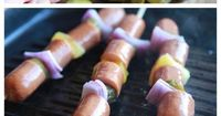 All-American Hot Dog Kabobs.... These were awesome!! I didnt like the idea of pickles and pineaplle on my hotdogs so I did purple onions and zucchini and it turned out so good with with a little mayo on the bun