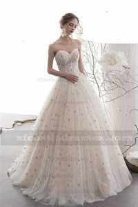 Beaded Lace Strapless Sweetheart Ball Gown Wedding Dress with Star TB35