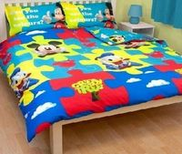 Mickey Mouse Childrens/Kids Mickey Mouse Clubhouse Reversible Quilt/Duvet Cover Bedding Set (Single Bed) (Yellow/ Great quality character bedding. Fibre: 100% Polyester Microfibre. Size Single duvet cover 135cm x 200cm.lt (Barcode EAN ...