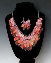 Tiny hand painted and hand cut fabric pieces in all the colors of a tropical sunset make up this unusual necklace. Each piece is made with my unique proprietary process and hand painted on the edge. The 14 karat gold plated chain is 22 inches long with a ...