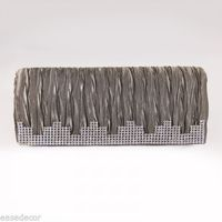 Women Handbag Evening Purse Elegant Dazzling Rectangle Grey Clutch w/ Rhinestone