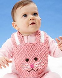 Lily Sugar'n Cream - Easter Bunny Bib (free knitting pattern) #easter
