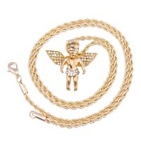 """MEN'S GOLD PLATED ANGEL ON CAP MICRO PENDANT ICED OUT IRON ROPE CHAIN 3MM 30"""" HIP HOP BLING NECKLACE Colour: Gold Material: Alloy Special Features: Gold Plated Angel on Cap Micro Pendant Iced Out Iron Rope Chain Dimensions: Chain Length: 30..."""