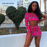 $15.02 Aliexpress - ANJAMANOR Plaid Print Sexy Two Piece Set One Shoulder Long Sleeve Crop Top Skirt Matching Sets Club Outfits Spring 2020 D0-AC72. Buy it from ALiexpress.com
