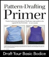 Free article for drafting a custom plus size top pattern - gives instruction on drafting a bodice pattern, using a plus size woman's body as an example.