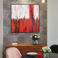 Framed wall art abstract Canvas paintings on canvas red and white original acrylic large Wall Art home decor wall pictures cuadros abstracto $104.75