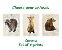 Choose Your Own Custom Watercolor Animals Nursery Decor Prints Birthday Child Gift Baby Shower Gift Cute Poster Set of 3 Kids Paintings $33.75