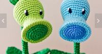 amigurumi plant monsters Pea Shooter and Frozen Peas from P. vs. Z!