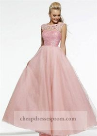 Blush Lace Sequin Cap Sleeves Ball Gown Prom Dress